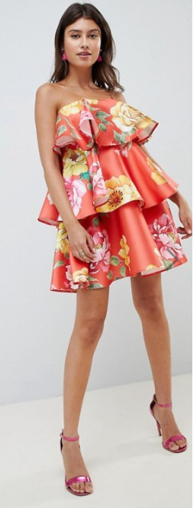 ASOS DESIGN Structured Tiered Mini Dress