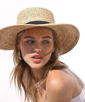 LA Hearts Straw Boater Hat
