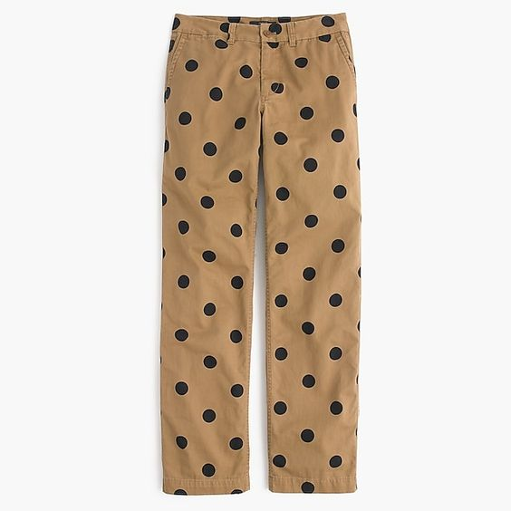 J. Crew Boyfriend chino pant in polka dot