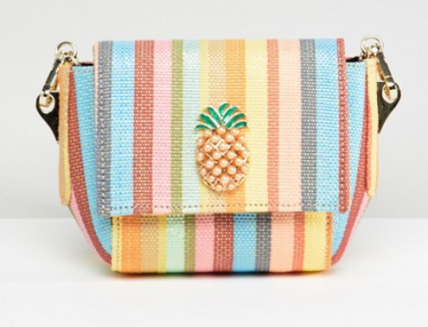 ASOS DESIGN Pineapple Stripe Cross Body Bag